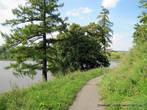 Асфальтовая дорожка проложена между замком и озером.