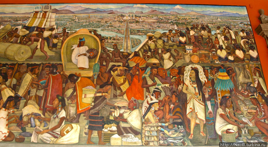 Сцена прибытия чернокожих рабов, которых испанцы привезли из Африки, так как они могут работать лучше чем индейцы