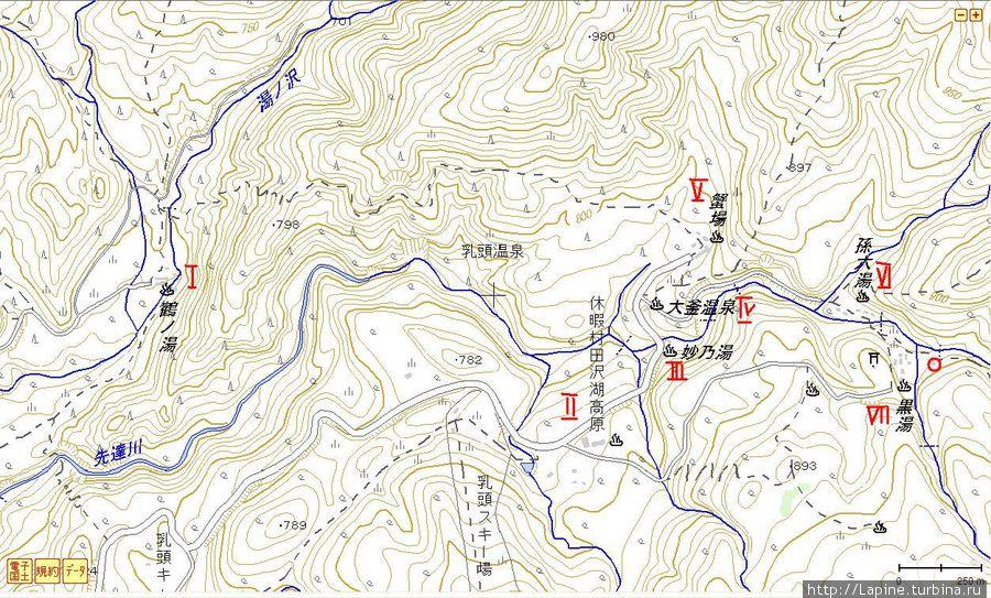 Топографическая карта Нюто Онсэн: I — Цуруною (к юго-западу за пределами карты находится новое крыло Цуруною — Яманоядо), II — Кюкамура, III — Таэною, IV — Огама,  V — Ганиба,  VI — Магороку,  VII — Курою (в красный кружок обвела нашу ханару :) )