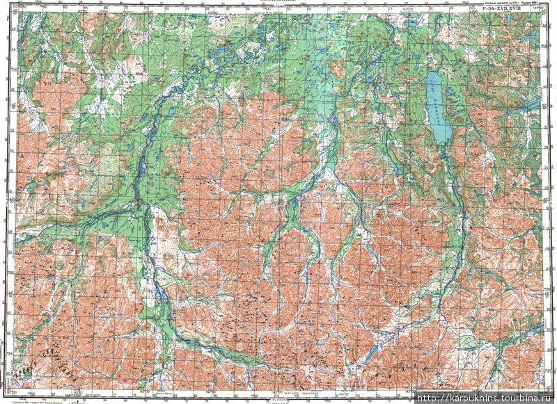 Карта масштаба в 1см. — 2км. Лабынкыр в правом верхнем углу. Озеро Водораздельное внизу.