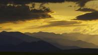 Вершины Киргизского хребта на закате. Плато Сандыктас