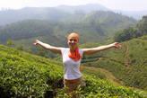 Анна Кособуцкая в чайных плантациях Муннара