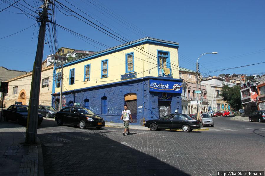 Желто-синее здание хостела