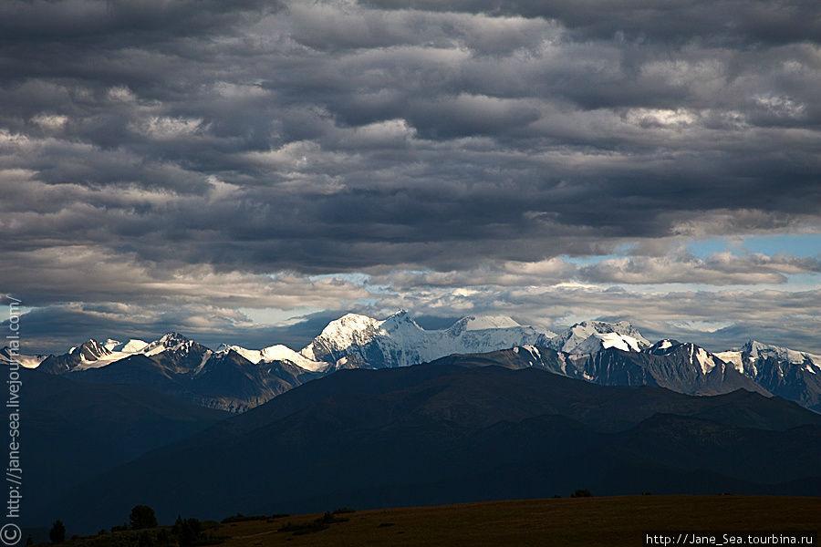 Белуха в пуховом одеяле вечерних облаков