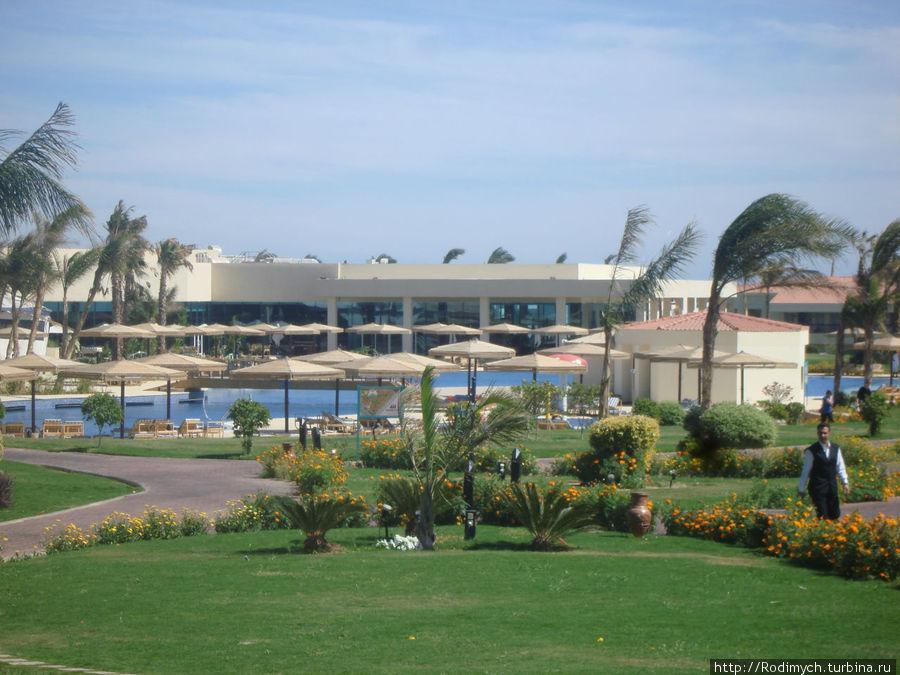 Вид на бассейн и ресторан