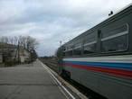 станция Балтийск и рельсовый автобус, курсирующий по маршруту Калининград — Балтийск