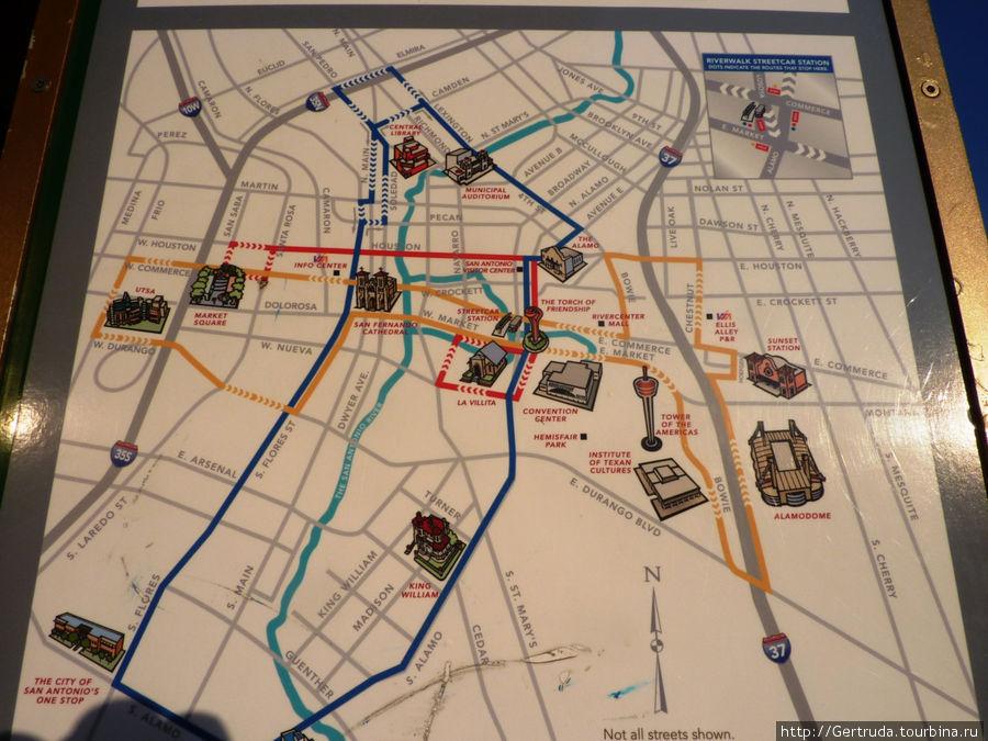 Схема красного, синего и желтого маршрутов автобусов
