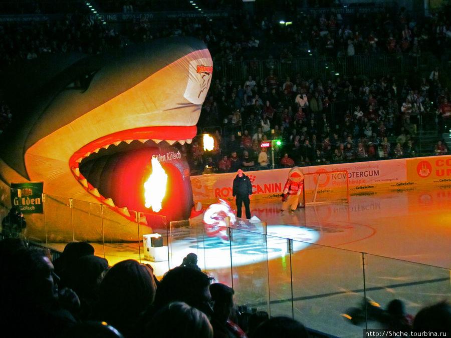 А в углу арена незаметно для нас возник надувной выход на лед в виде пасти акулы. Хоккеисты хозяев по одному под оглушительную поддержку трибун выкатывались на лед. Гости по скромному выехали всей командой из подтрибунных помещений.