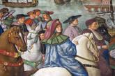 Деталь Цикла фресок о жизни и деяниях Энеа Сильвио Пикколомини, папы Пия II, в библиотеке Сиенского собора. Э.С. Пикколомни отправляется на Базельский собор