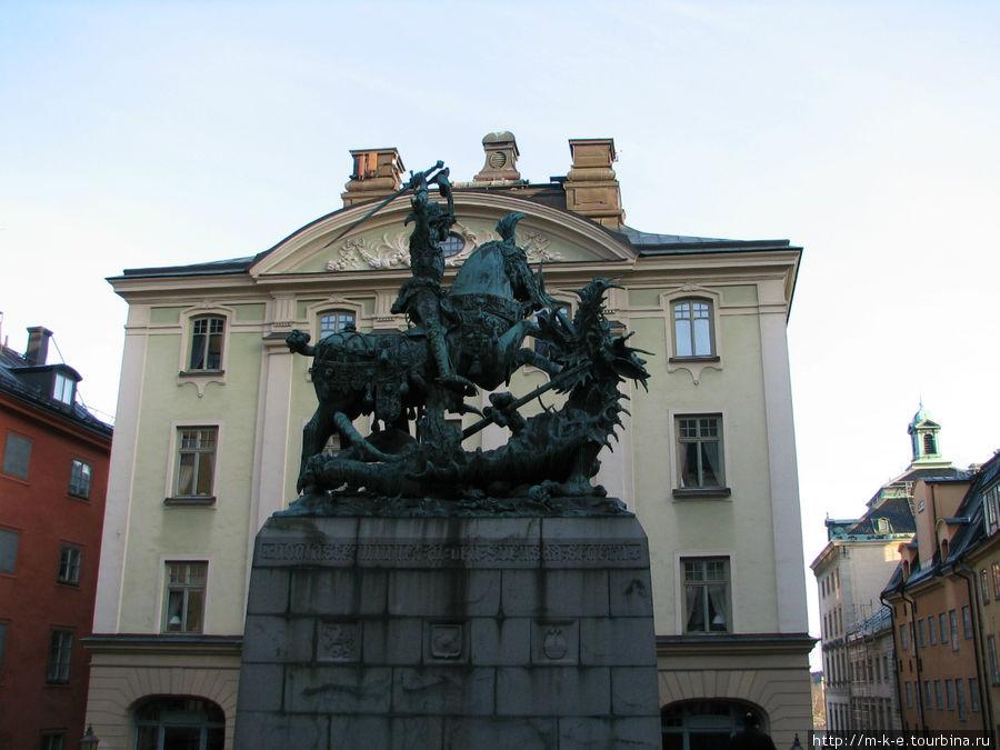 Святой Георгий со змеем-бронзовая копия