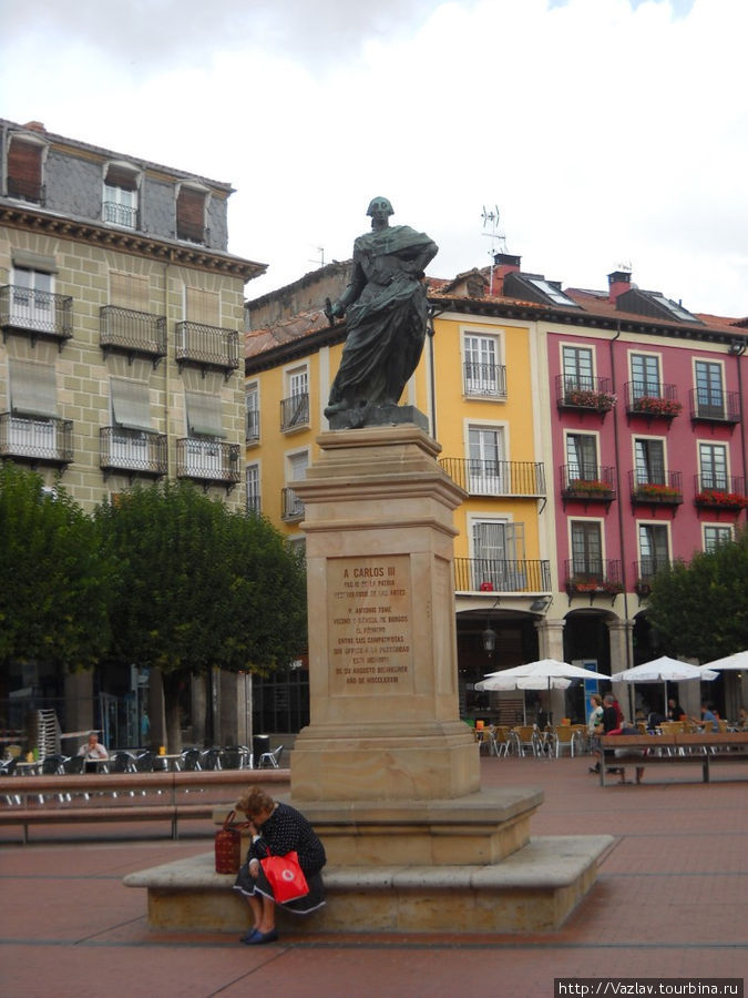 Памятник королю на фоне симпатичных домов