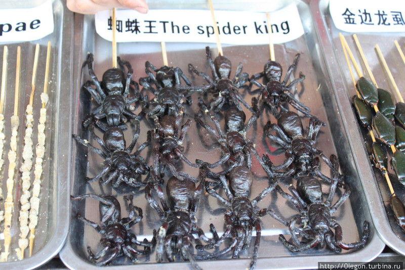 Попробуйте огромных чёрных пауков Пекин, Китай