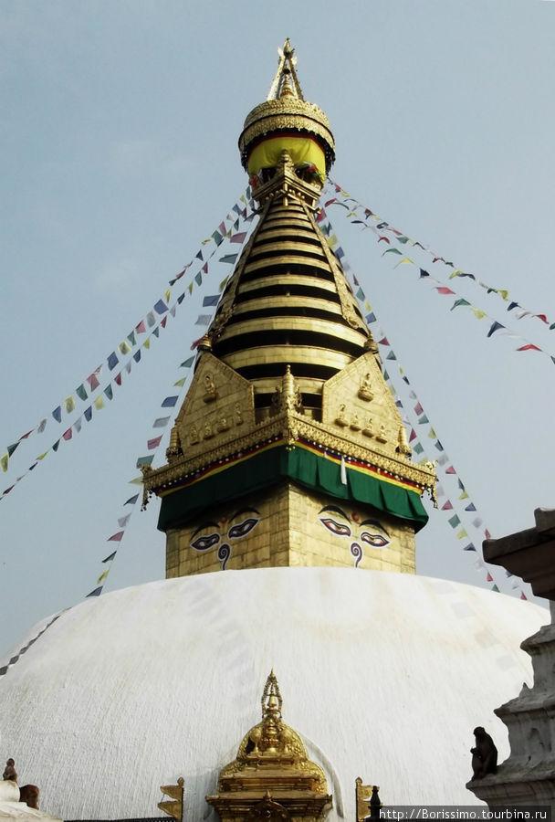 Вот так выглядит ступа на холме Сваямба.
