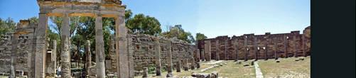 Панорама старинного города Cyrene. Верхний город.