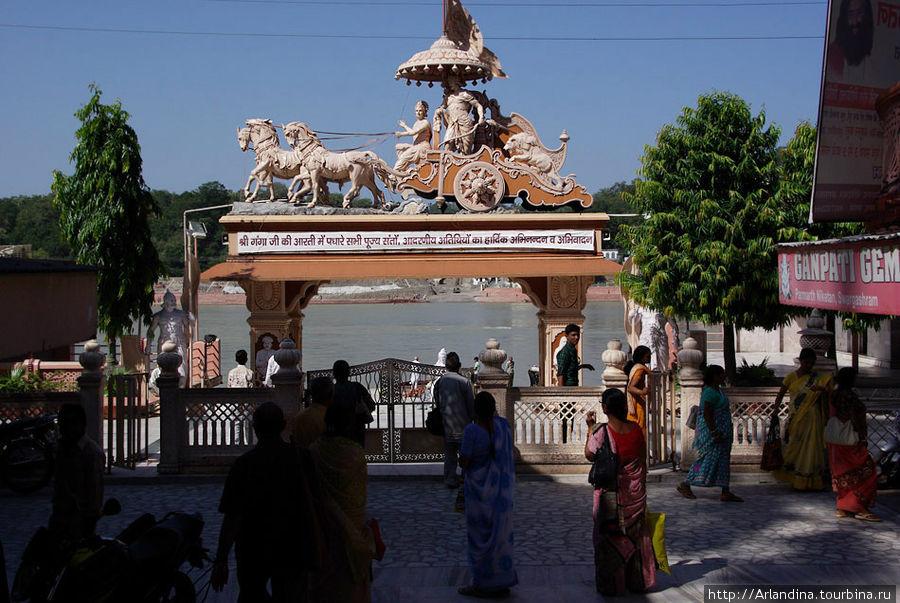 Знаменитые ворота ашрама, гати и Ганга