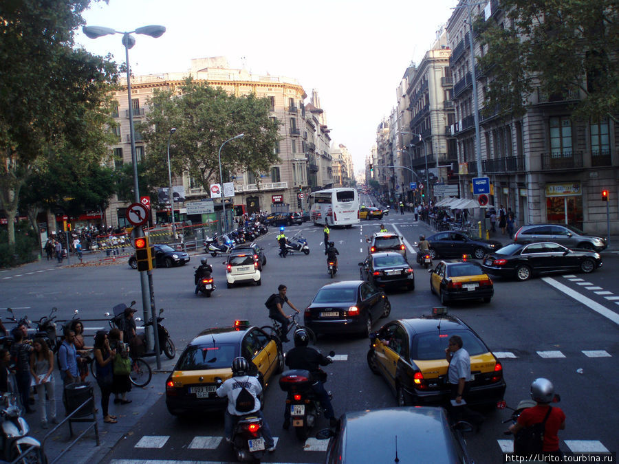 полиция направляет автомашины в объезд из-за митинга в центре Барселоны