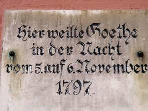 Здесь ночевал Гетте с 5 на 6 ноября 1797 г.