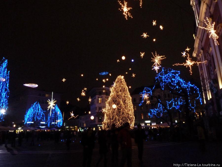 Любляна.Центр ночью
