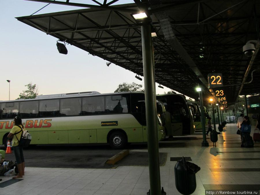 Посадочная платформа автовокзала  с автобусами Tur-bus