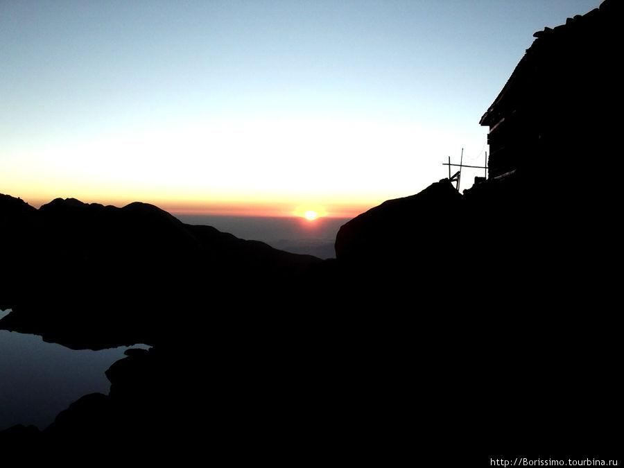 Так выглядел закат на озере Госаин Кунд.