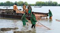 Тоня на Кегаче – рыбаки тянут невод с уловом