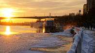 Зимний закат на набережной Дона