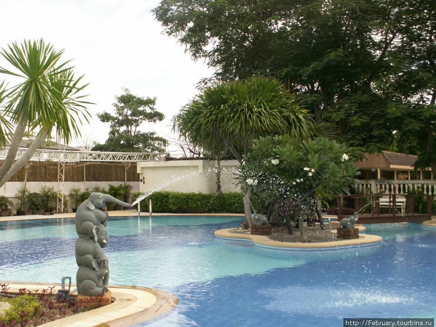 Большой бассейн со свеже покрашенными слониками.