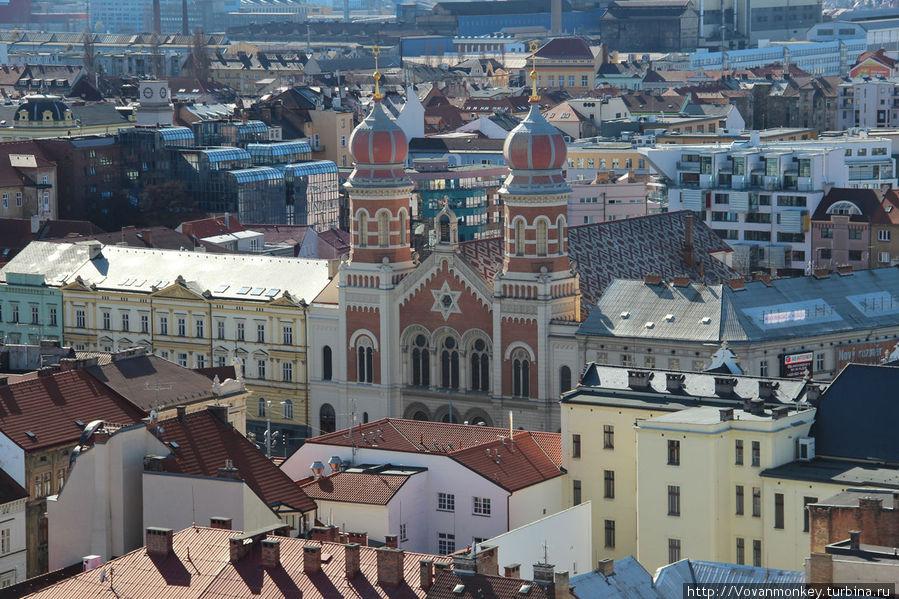 Большая синагога (чеш. Velká synagoga) — вторая по величине в Европе после Будапештской и третья в мире, может вмещать в себя более двух тысяч прихожан. Построена в 1892 году