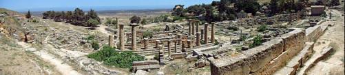 Панорама старинного города Cyrene. Нижний город.