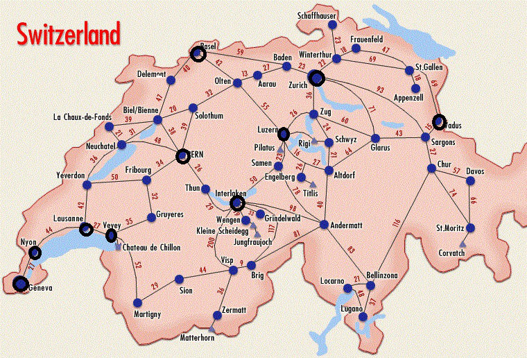Карты Швейцарии | Подробная карта Швейцарии на русском ...