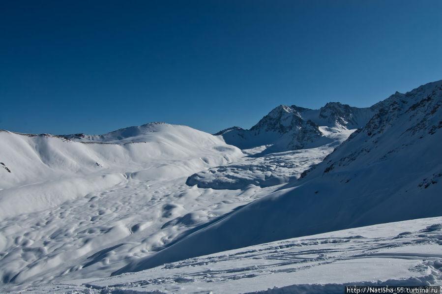 На высоте 3450 м — вид на цирк ледника Кашка-Суу.