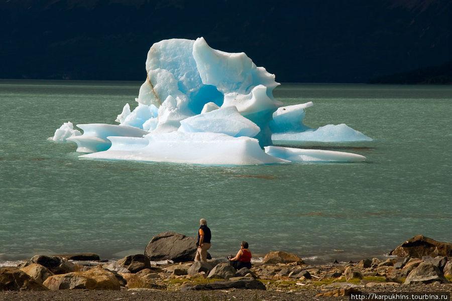 Это айсберг ушёл от ледника недалеко, всего километра на два. Но видел айсберги даже напротив Эль Калафатэ. И даже в самом дальнем от ледников конце озера. А это уже что-то ближе к сотне километров.
