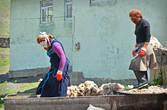 Жителям Хыналы довольно много всего приходится привозить к себе в деревушку из соседних селений — ведь огородики во дворах у них совсем маленькие да и климат не всегда позволяет добиться богатых урожаев. Но во всем остальном они стараются ни от кого не зависеть. Например, активно разводят овец, специально готовят из шерсть и ткут из них красивейшие ткани.
