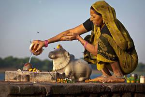 Женщина, совершающая утреннее подношение богам (пуджу). Махешвар, штат Мадхья Прадеш