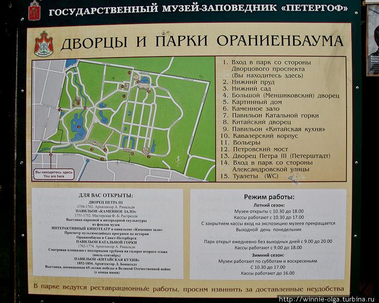 Расписание работы парка и музеев.
