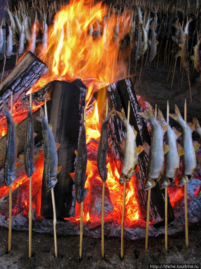 Традиционно рыбу готовят, обжаривая со всех сторон на открытом огне. Выкладывают круглые печи, в середине разводят огонь, а по периметру крепят деревянные палочки-