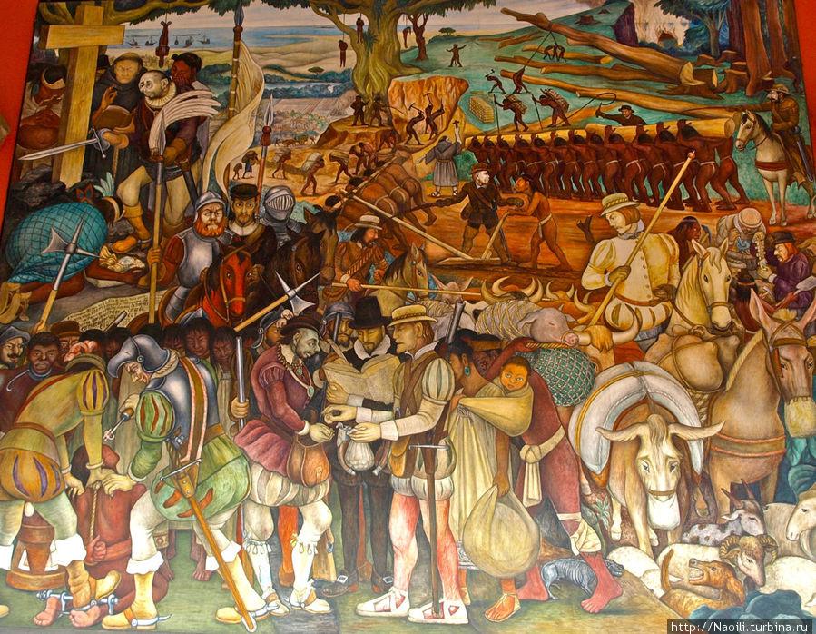 Колумб прибыл в Америку и разговаривает с торговцами,  рядом Малинче, его герл-френд и переводчица, она выучила испанский и также разговаривала на нескольких индейских языках