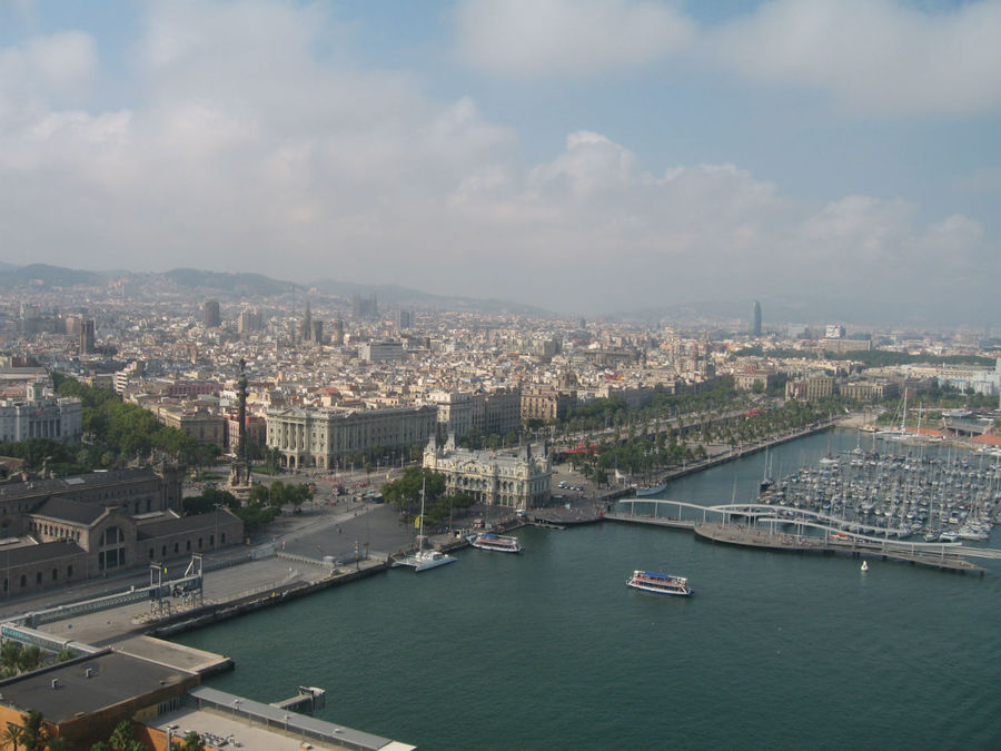 Барселона из кабины фуникулёра