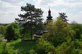 вид на деревянную церковь со смотровой замка