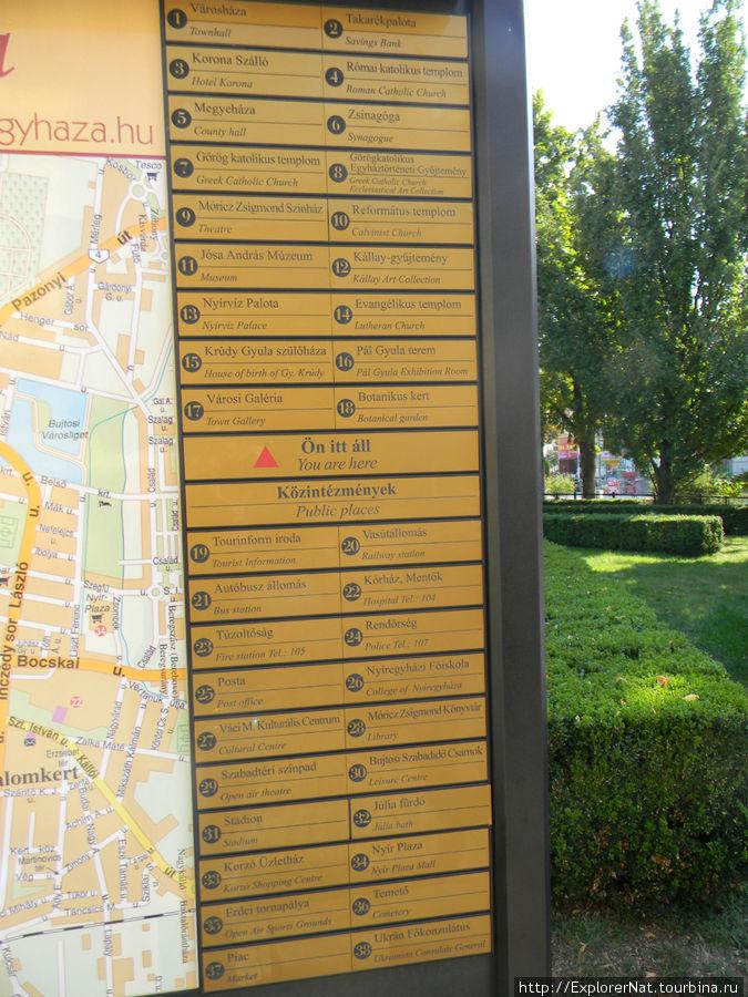 Карта достопримечательностей в центральной части города Ниредьхаза
