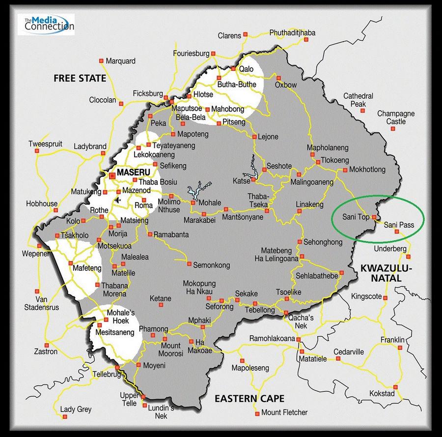 Зеленым цветом выделена зона пересечения границы ЮАР и Лесото.