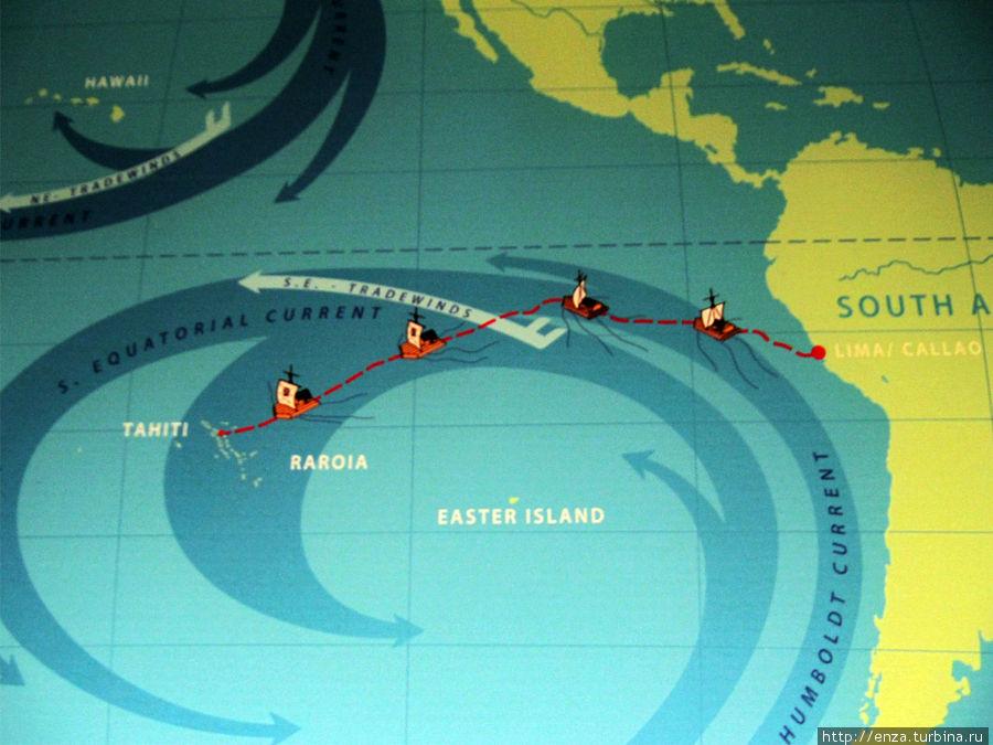 Маршрут Кон-Тики в Тихом океане.